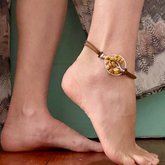 Golden Calcite Tree of Life Anklet