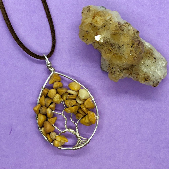 Golden Calcite Tree of Life Pendant (Large) - Silver with Silver ON SALE!