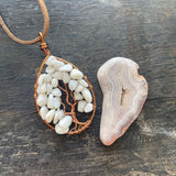 White Agate Tree of Life Pendant (Large) - Copper with Copper ON SALE!