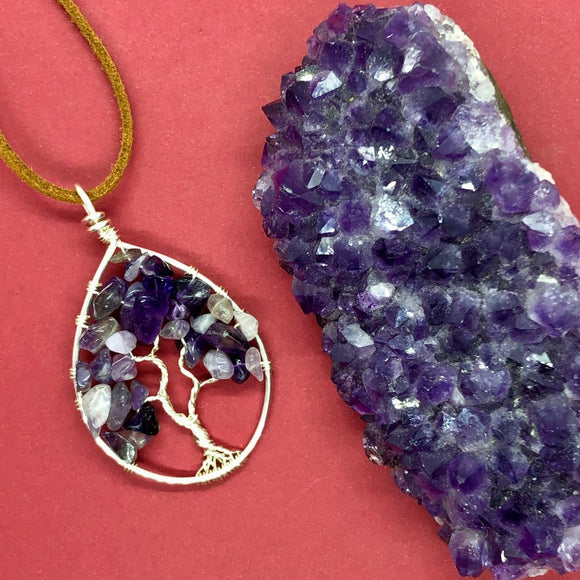 Amethyst Tree of Life Pendant (Medium)