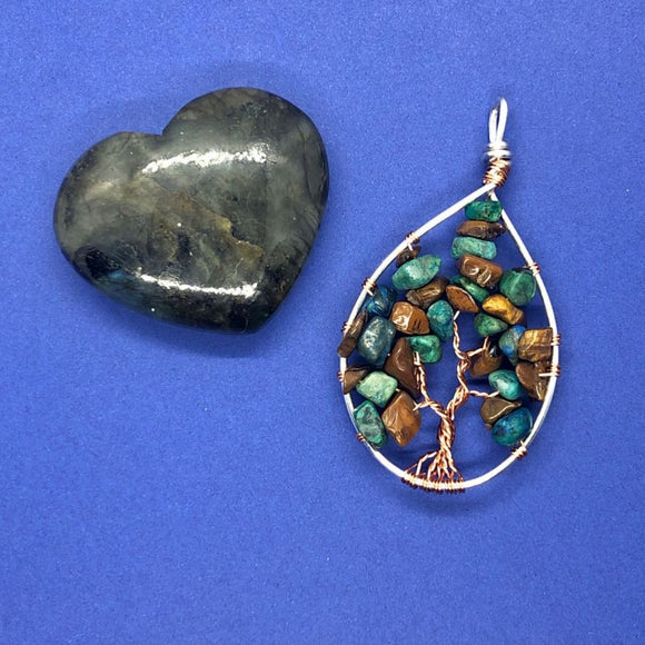 Chrysocolla and Tiger's Eye Tree of Life Pendant (Medium)