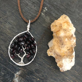 Garnet Tree of Life Pendant (Medium) - Silver with Silver ON SALE!