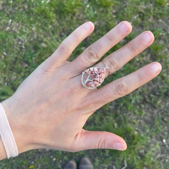 Rhodochrosite Tree of Life Ring