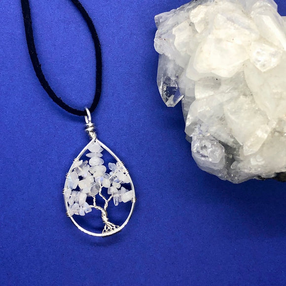 Rainbow Moonstone Tree of Life Pendant (Small)