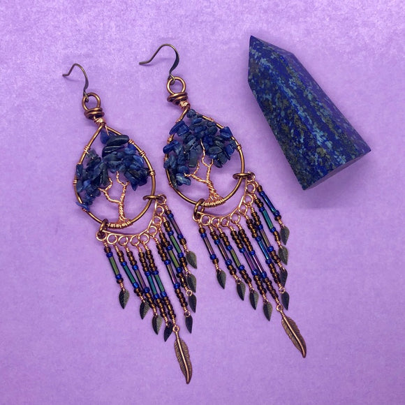 Sodalite Wesley's Tree of Life Dangle Earrings (S)