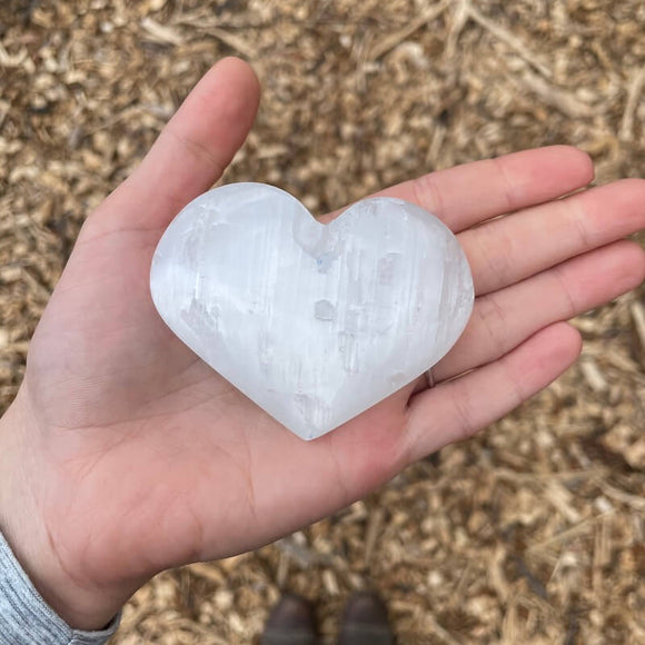 Selenite Crystal Heart - Large B