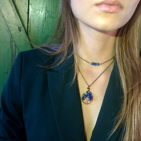 Sodalite Tree of Life Layer Necklace (XS) - Size 12