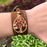 Sunstone Tree of Life Wrap Bracelet - Silver with Gold, Light Brown Vegan Leather ON SALE!