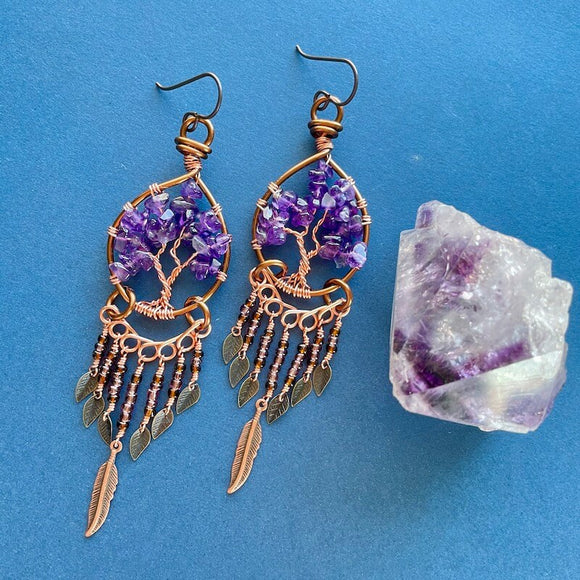 Amethyst Tree of Life Dangle Earrings