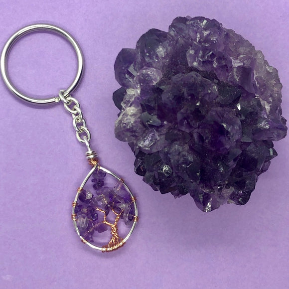 Amethyst Tree of Life Keychain (XS)