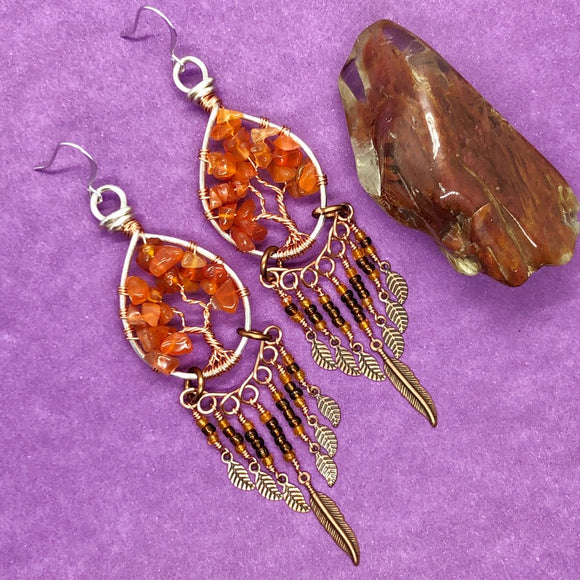 Carnelian Tree of Life Dangle Earrings