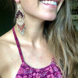 Garnet Tree of Life Dangle Earrings
