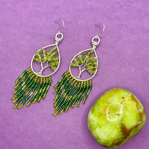 Peridot Tree of Life Fringe Earrings
