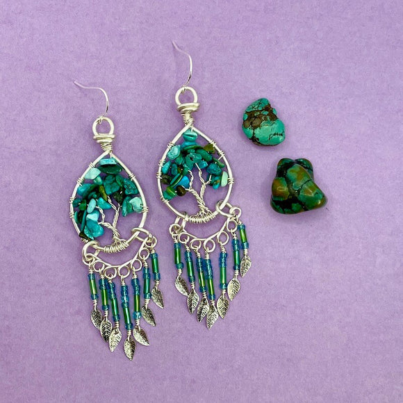 Turquoise Tree of Life Dangle Earrings