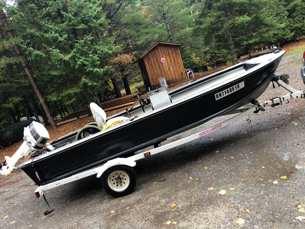 COMING SOON - Very good condition Sylvan 16' aluminum fishing boat with 30HP Johnson and trailer.