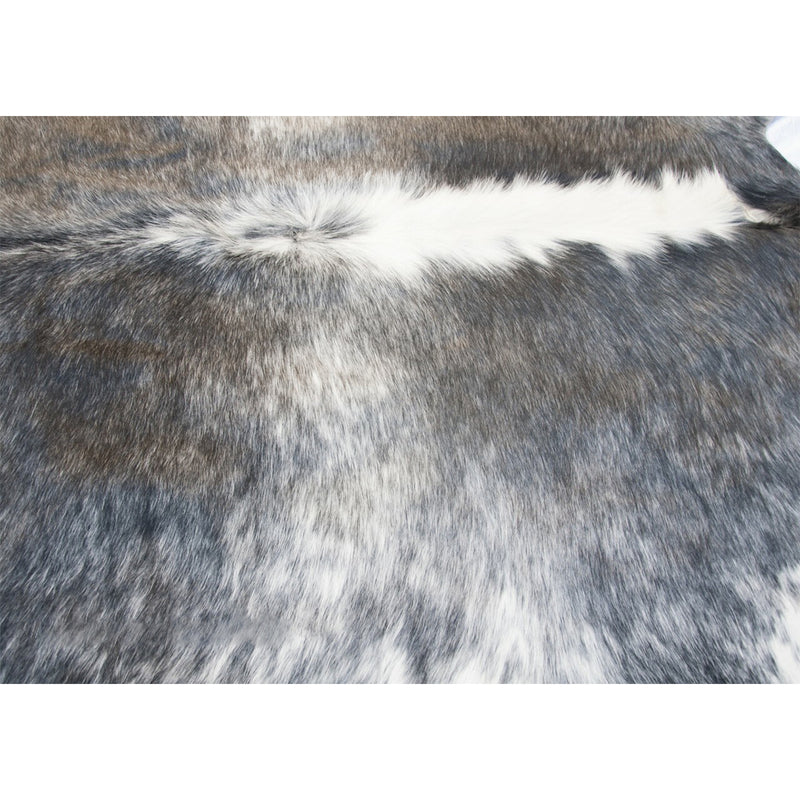 Dark Silver Grey Natural Cowhide Large Rug