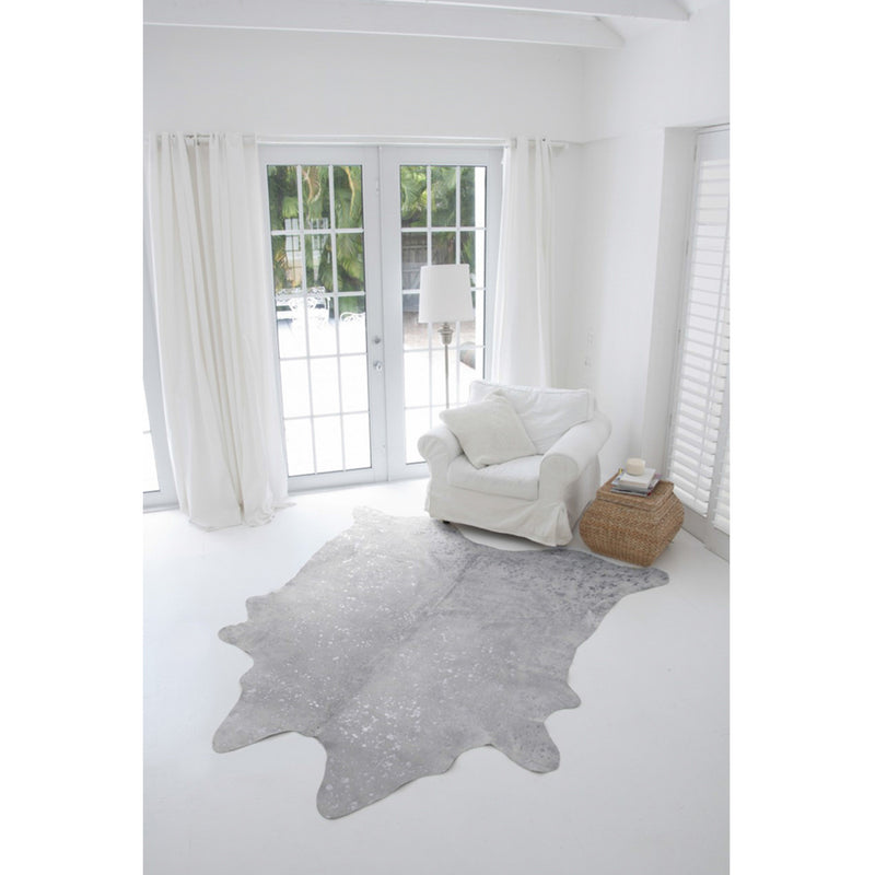 Off White with Star Metallic Silver Devore Print Cowhide Rug