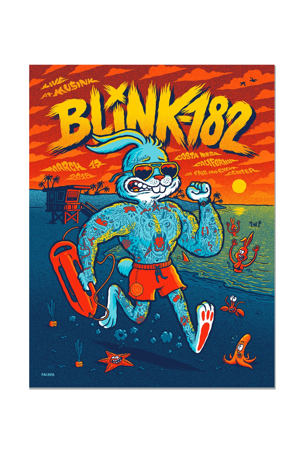blink-182 03/17/2018 Costa Mesa, CA Event Poster
