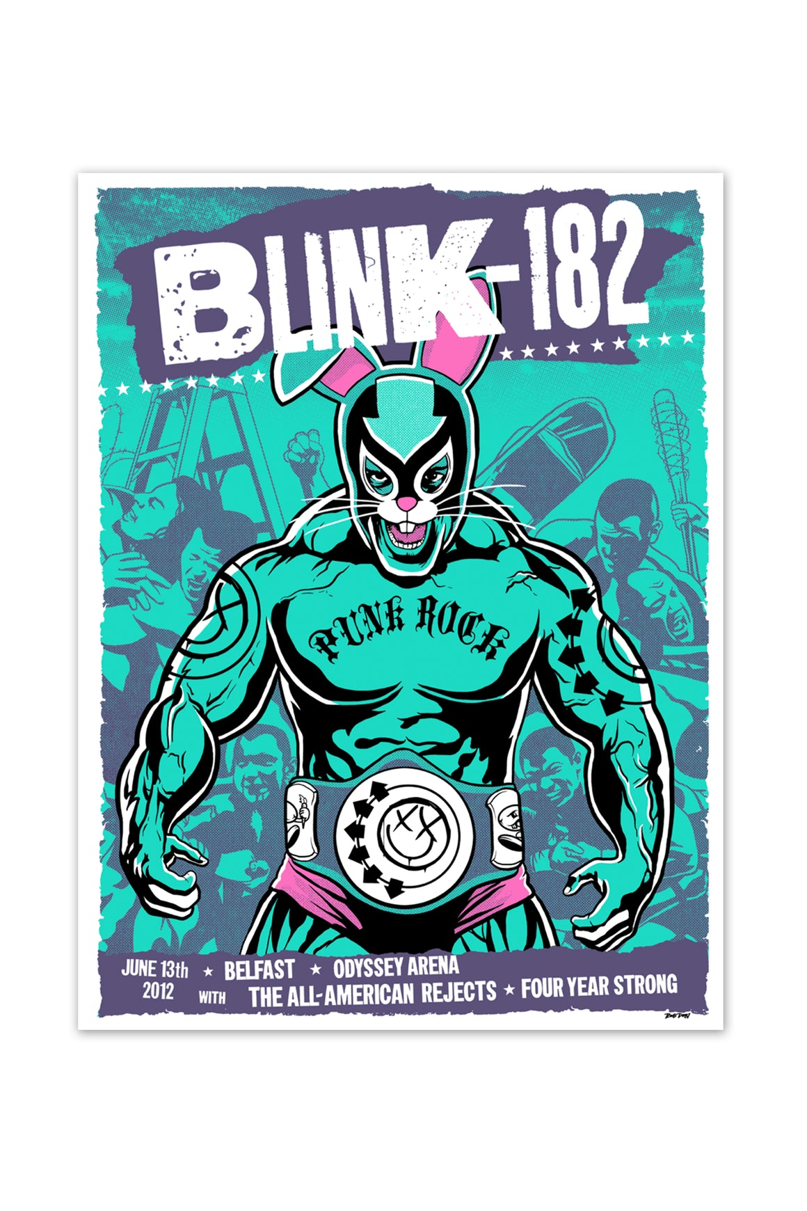 blink-182 6/13/2012 Belfast, Ireland UK Event Poster
