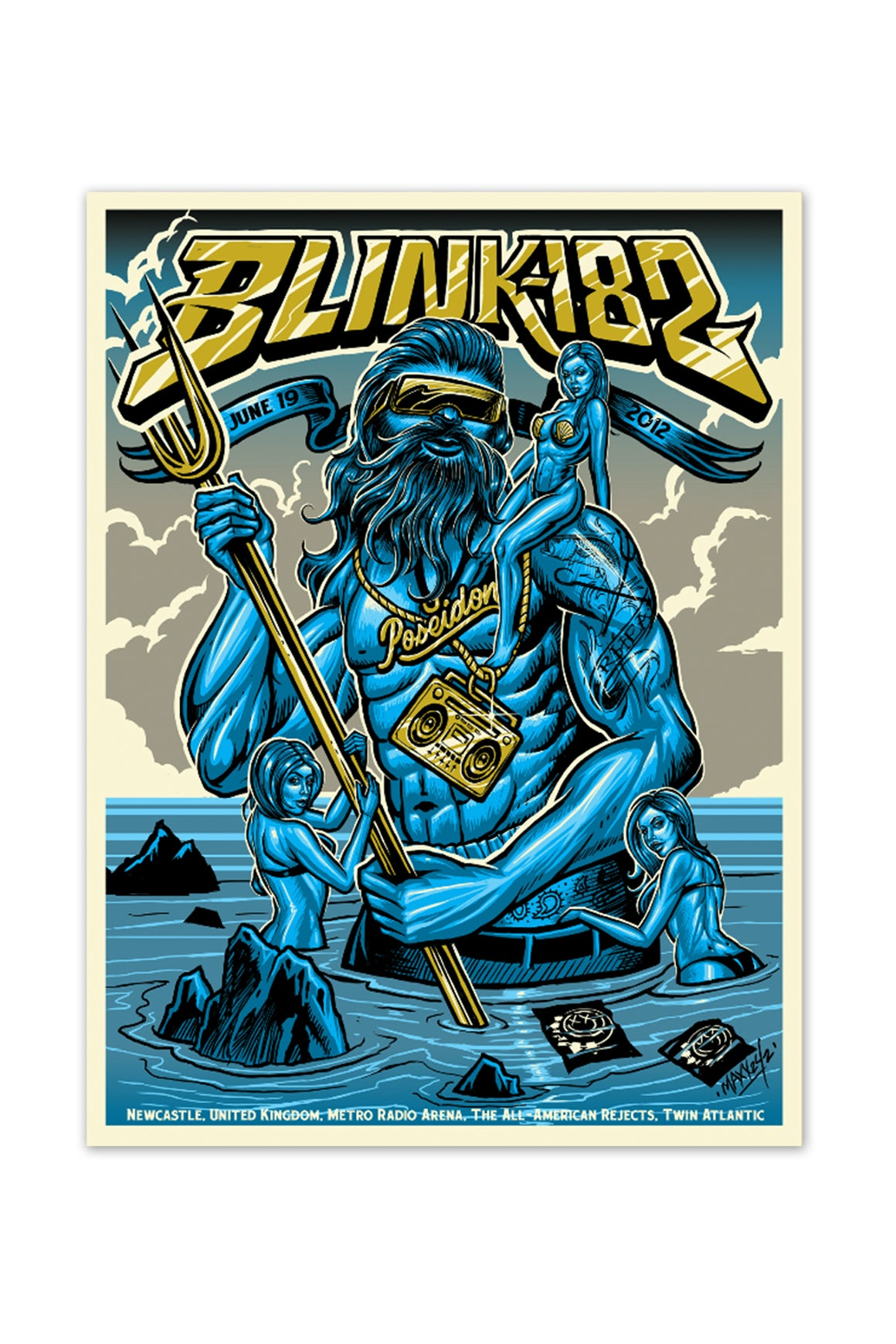 blink-182 6/19/2012 Newcastle, England Event Poster