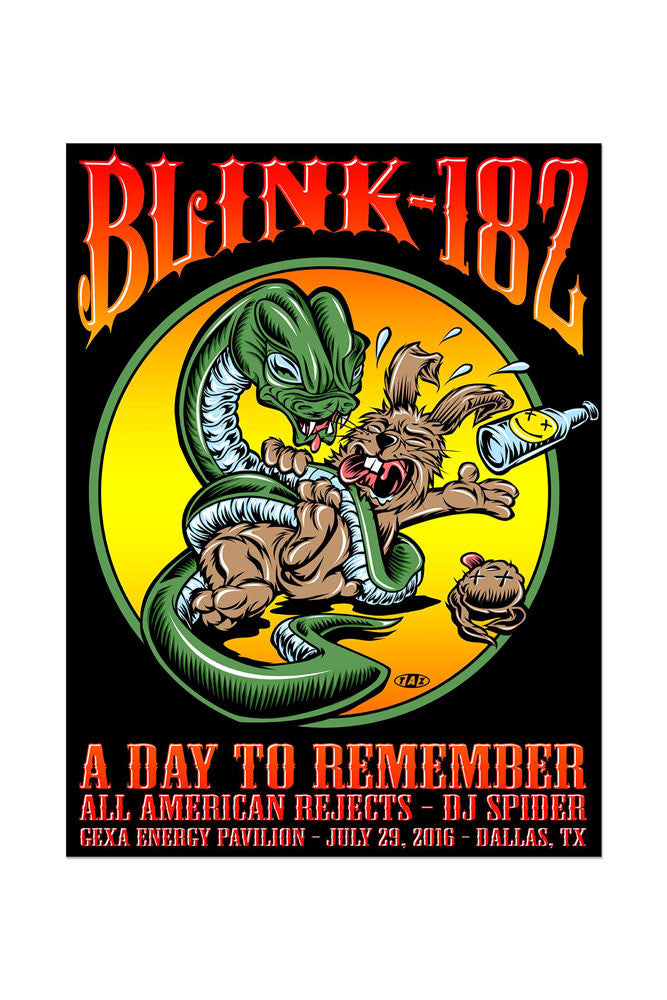 blink-182 7/29/2016 Dallas, TX Event Poster