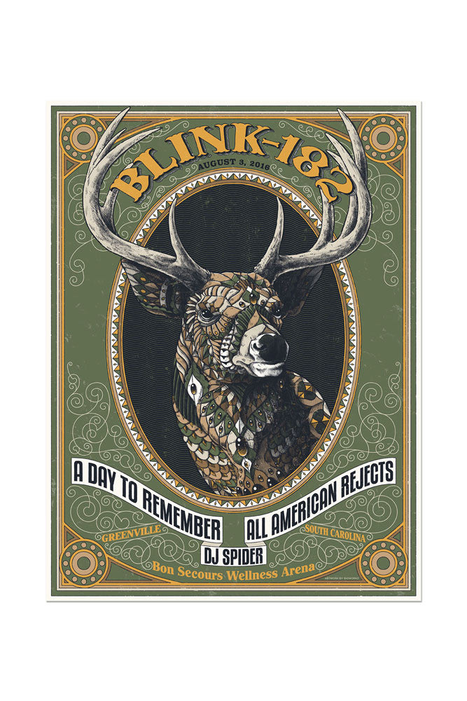 blink-182 8/3/2016 Greenville, SC Event Poster