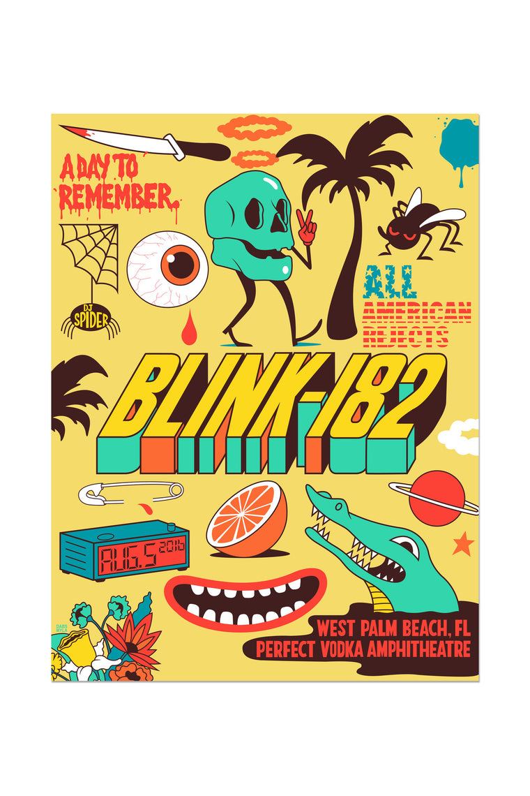 blink-182 8/5/2016 West Palm Beach, FL Event Poster