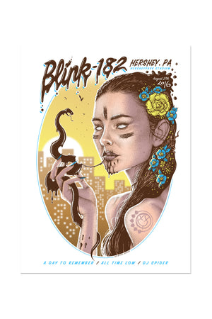 blink-182 8/27/2016 Hershey, PA Event Poster