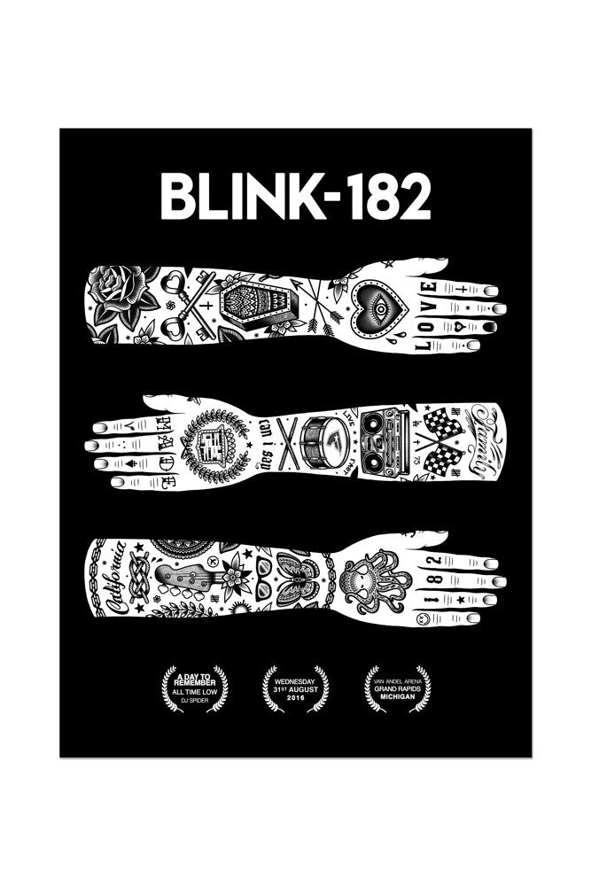 blink-182 8/31/2016 Grand Rapids, MI Event Poster