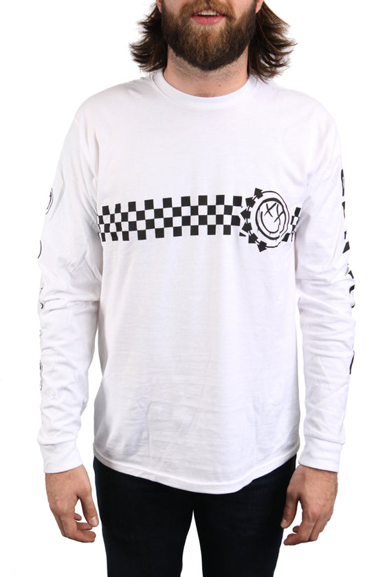 blink-182 Checkered Long Sleeve Tee White