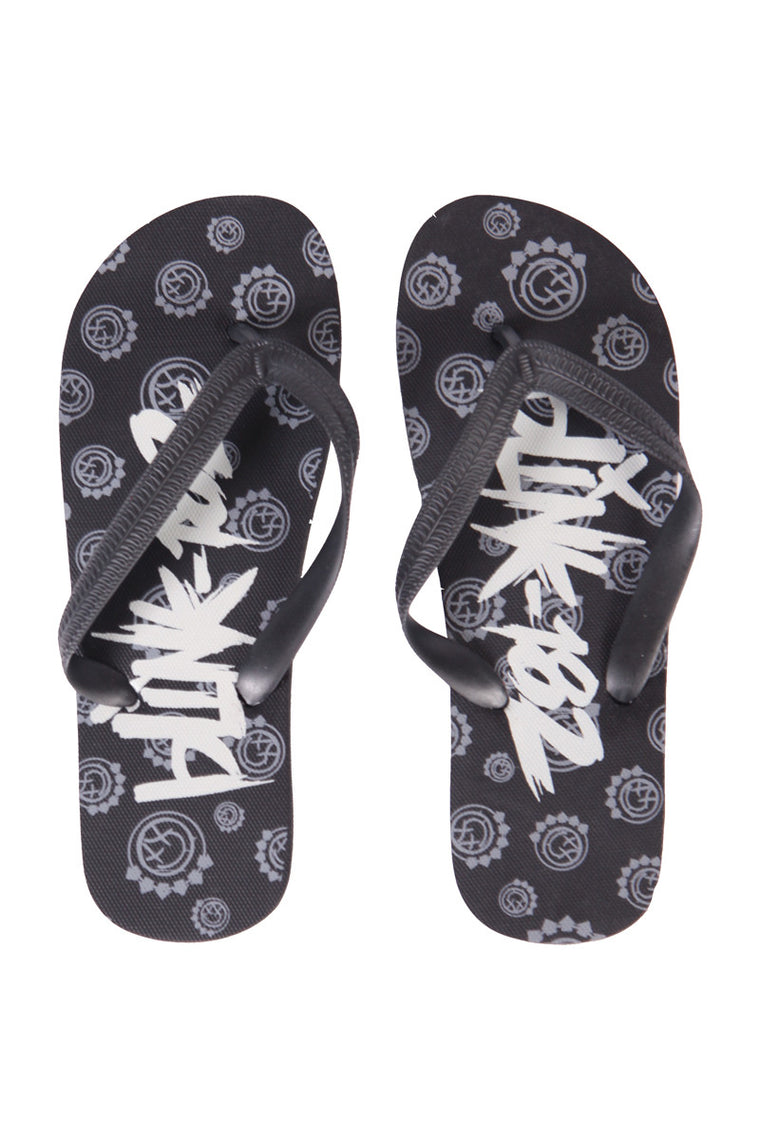 blink182 Multi Smiley Flip Flop Black