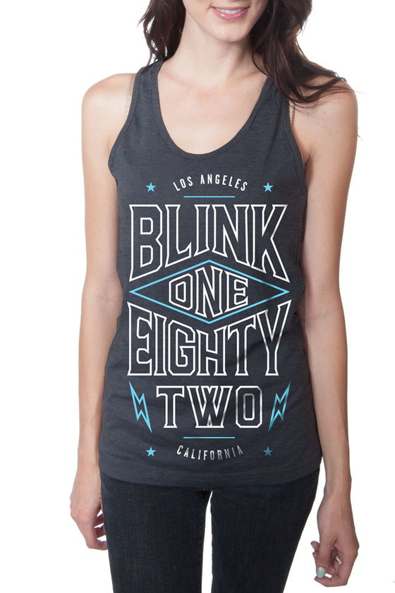 blink-182 Pointed Racerback Tank Top Heather Charcoal