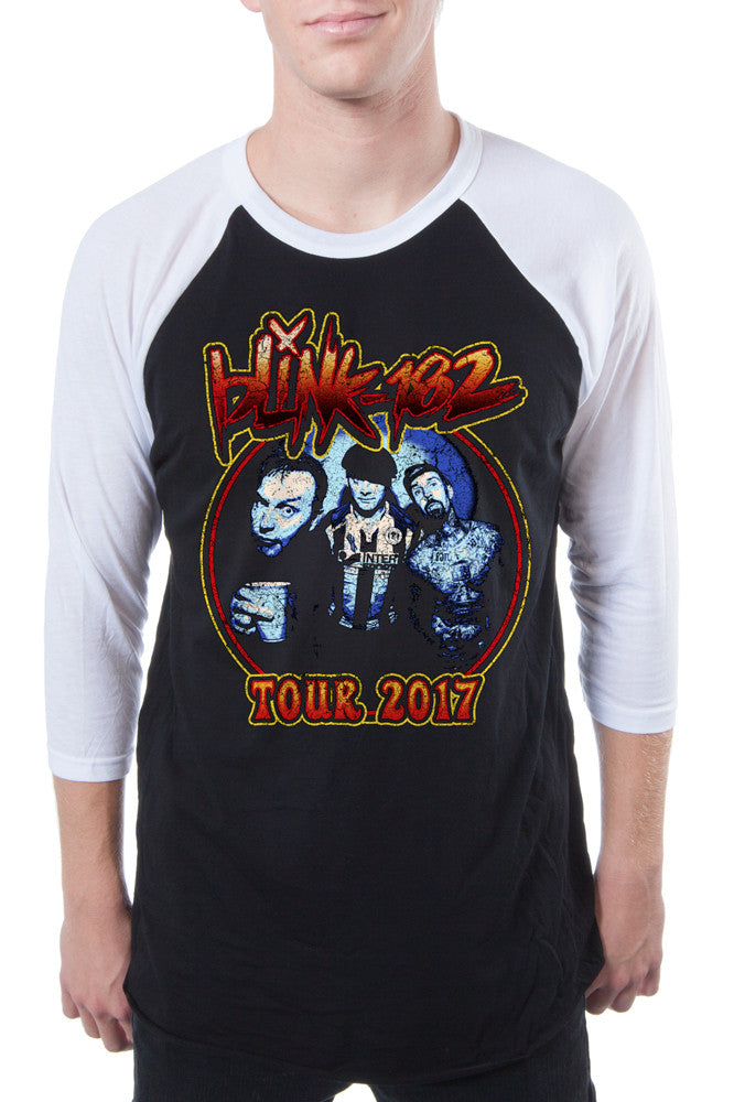 blink-182 Vintage Rocker Raglan Black White
