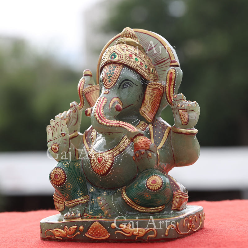 Green Quartz Ganpati 9""