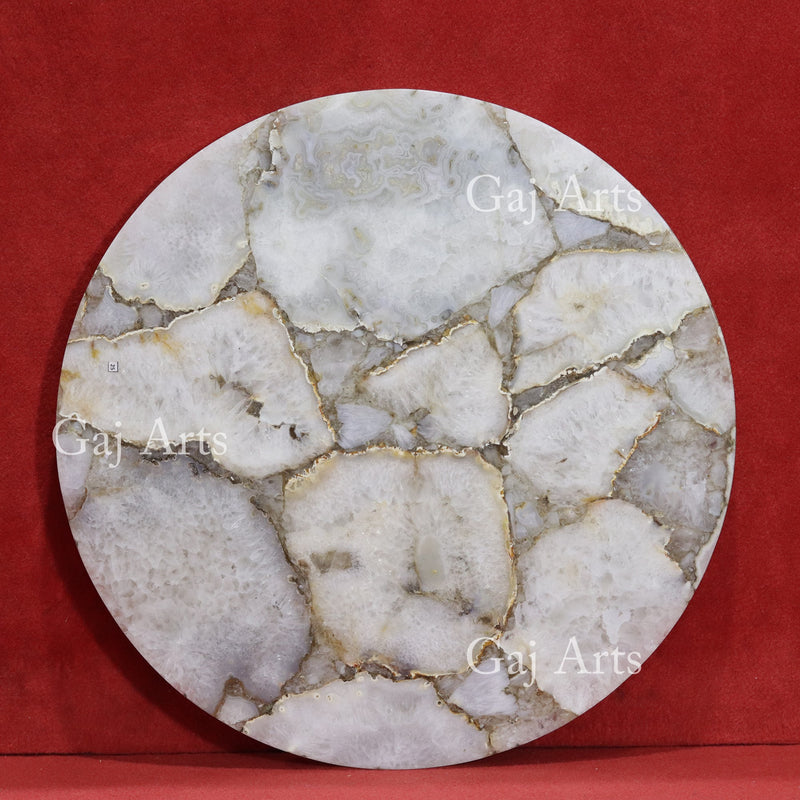 White Agate Table Top 25