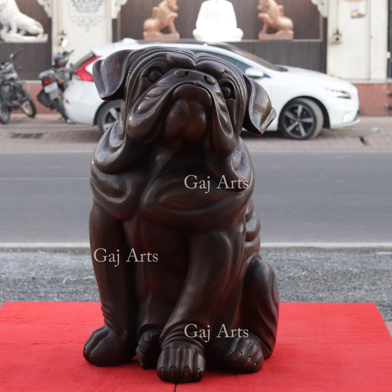 Wooden Sitting Bulldog 33""