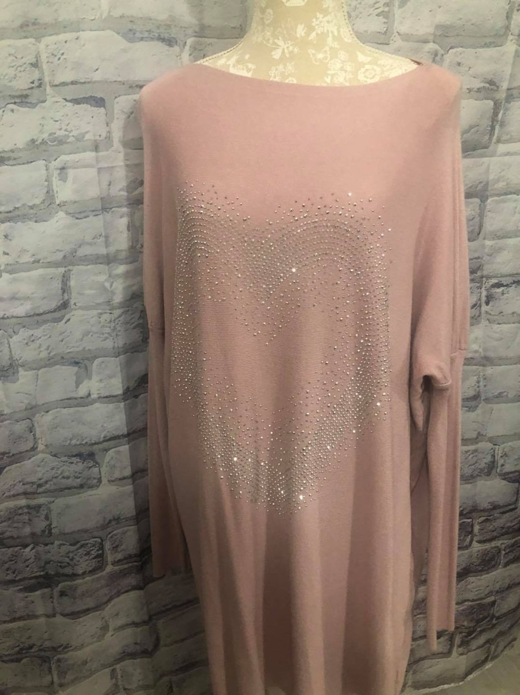 Longer Length Knit With Sparkle Heart