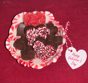 Peppermint Candy Bowl Filled with Chocolates