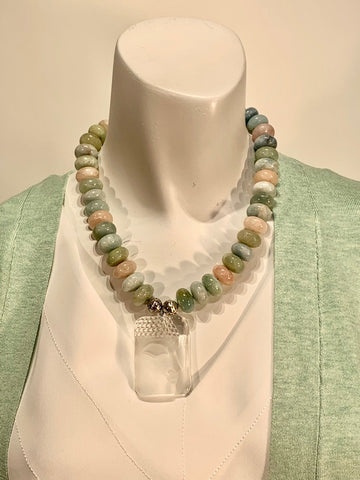 Semi Precious Aquamarine, Beryl and Morganite One of a Kind Necklace Made in California.