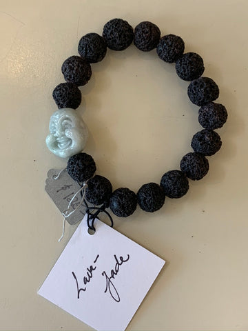 Semi Precious Jade and Lava Beads Stretch Bead Bracelet with a Happy Buddha