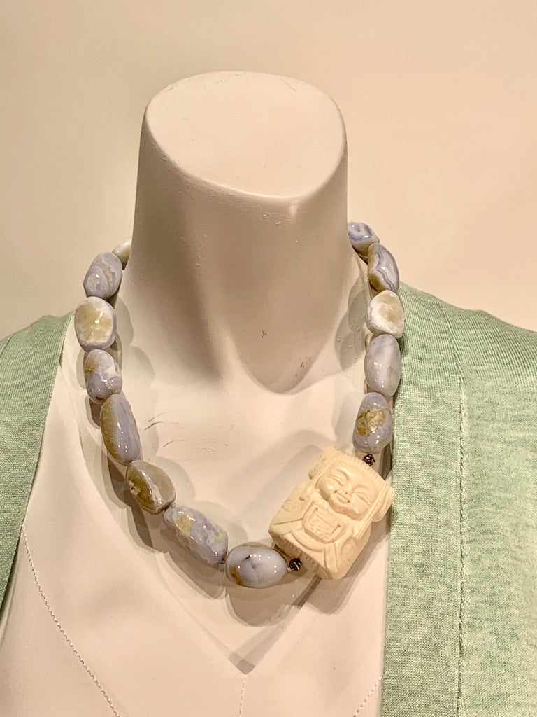 Semi Precious Blue Lace Agate One of a Kind Necklace Made in California.