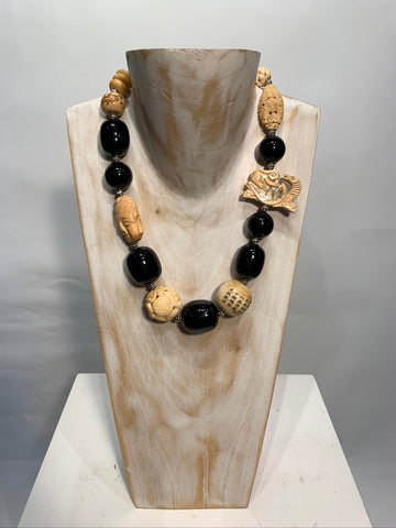 Semi Precious Onyx and Wood One of a Kind Necklace Made in California.