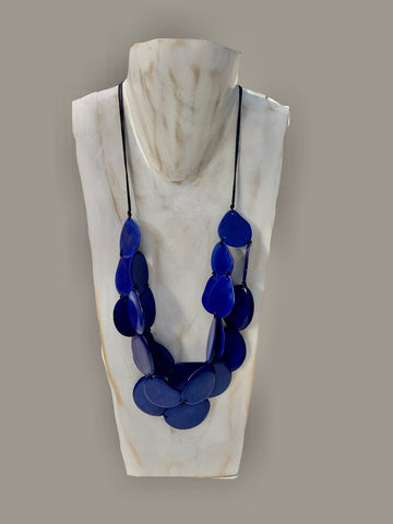 Tagua Organic Fair Trade Necklace in Blue