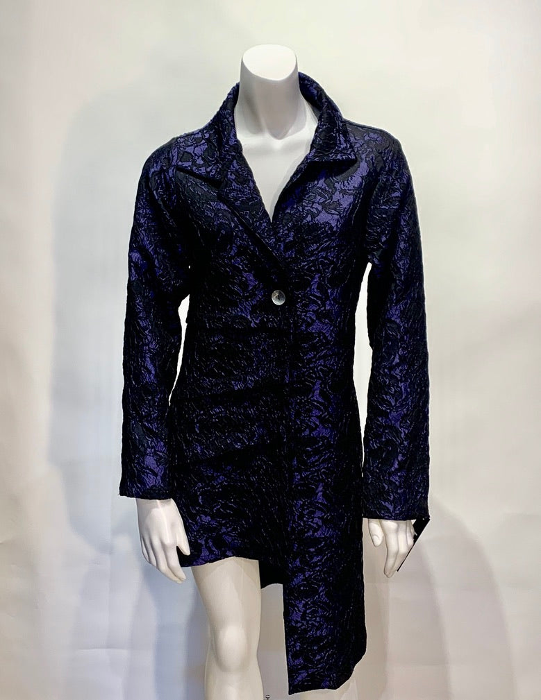 Heydari Sleeveless Purple and Black Brocade Jacket #10806
