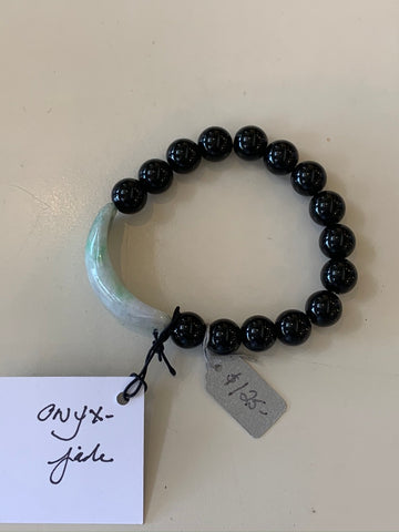 Semi Precious Jade and Onyx Stretch Bead Bracelet