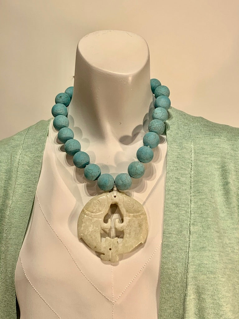 Semi Precious Magnesite and Jade One of a Kind Necklace Made in California.