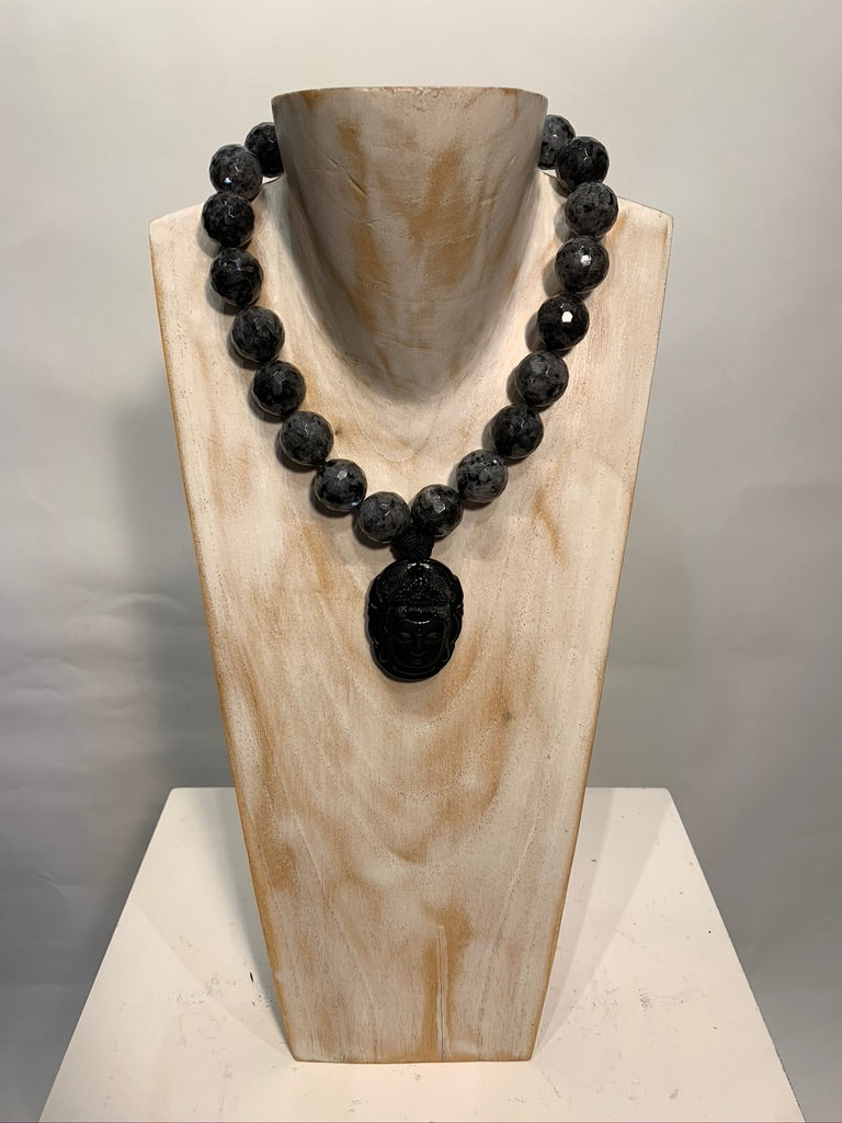 Semi Precious Eagle Eye Stone Obsidian One of a Kind Necklace Made in California.