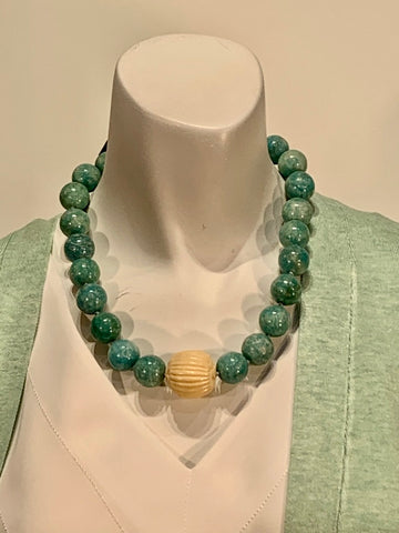 Semi Precious Amazonite and Carved Bone One of a Kind Necklace Made in California.