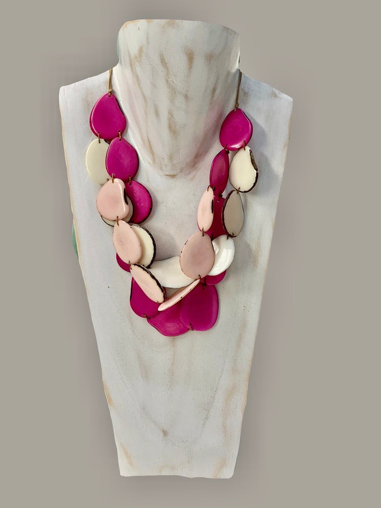 Tagua Organic Fair Trade Necklace in Pinks and Cream Adjustable