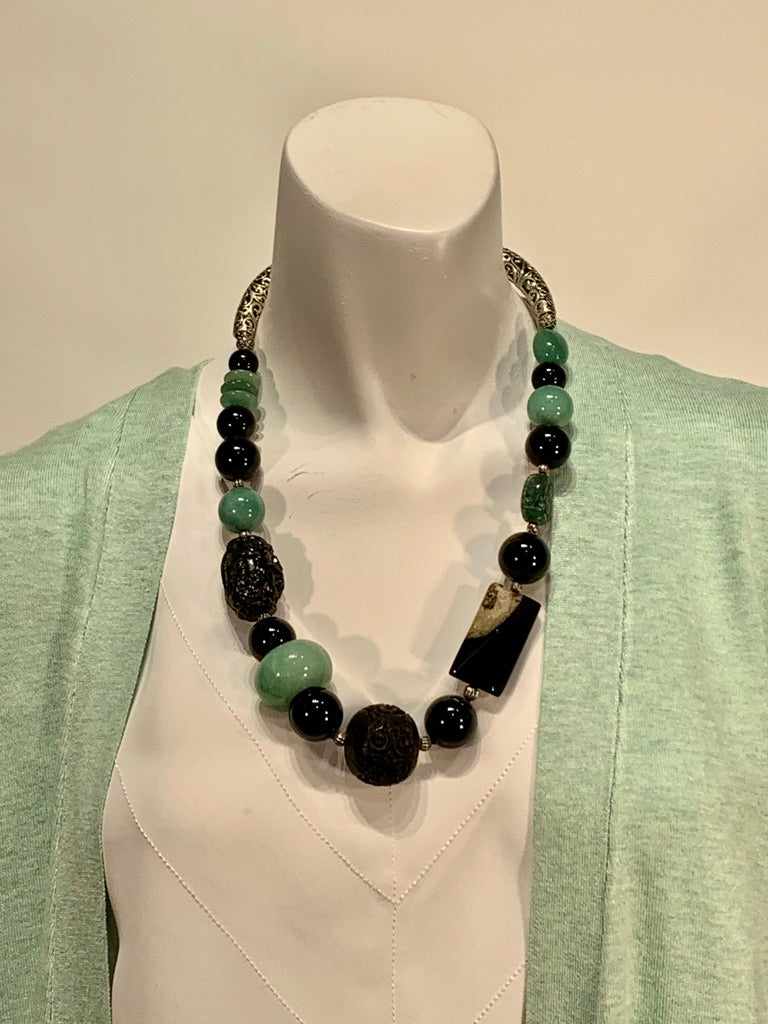 Semi Precious Jade, Onyx and Agate One of a Kind Necklace Made in California.